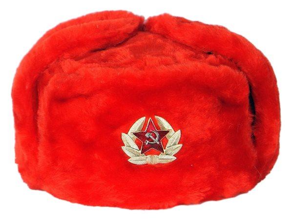 Шапка ушанка красная