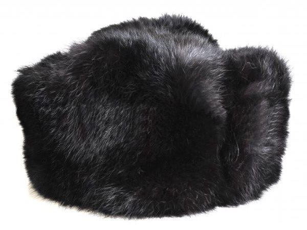 Мужская шапка на меху кролика черная