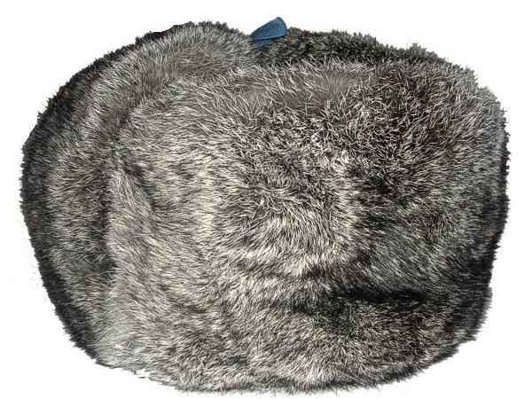 Мужская шапка на меху кролика серая