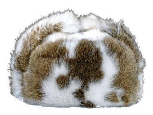 """Мужская шапка-ушанка из кроличьего пятнистого меха """"Бабочка"""""""