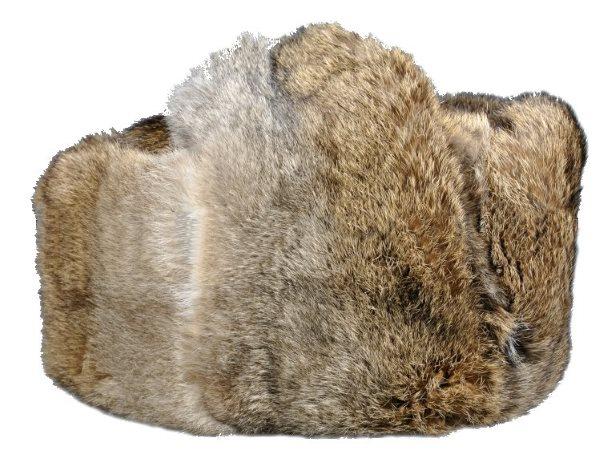 """Мужская шапка-ушанка из меха кролика расцветки """"Волк"""""""